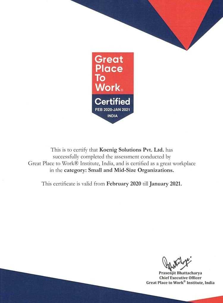 Koenig Awards, Great Place to Work Certified 2020