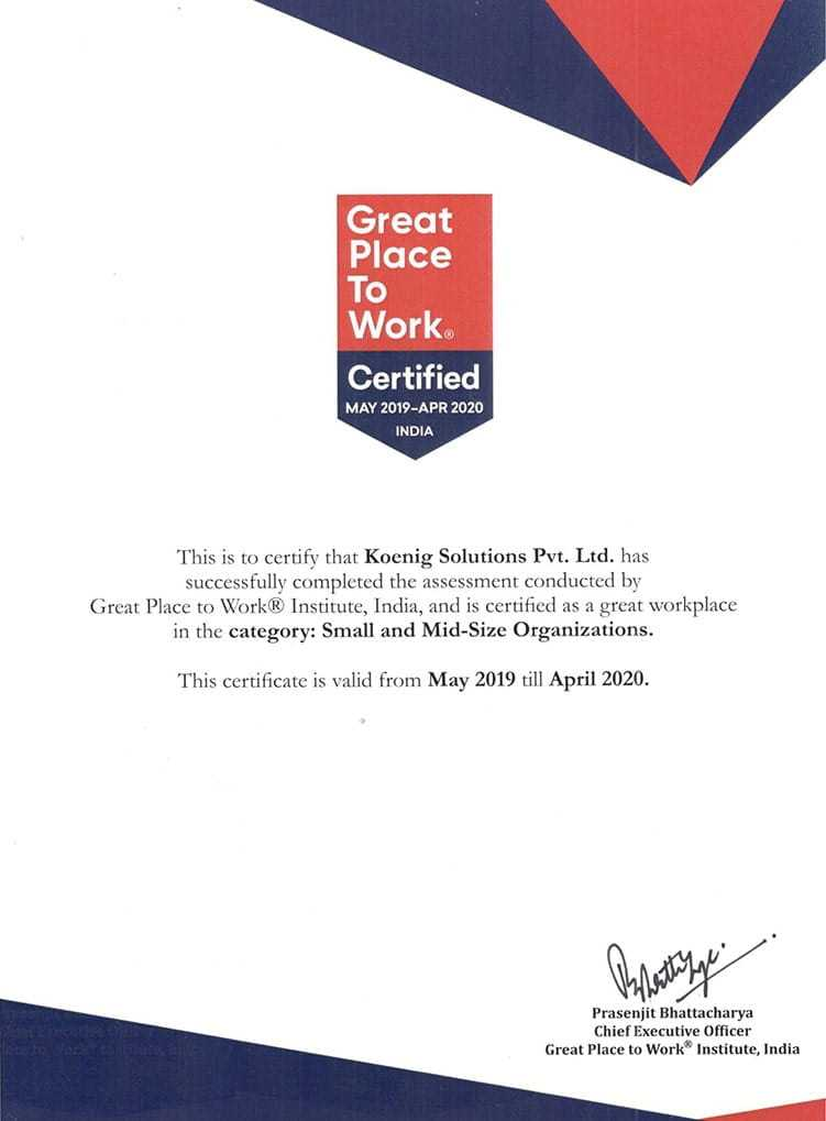 Koenig Awards, Great Place to Work Certified 2019